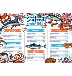 seafood restaurant menu fish gourmet food sketch vector image