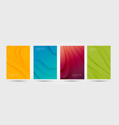 set colourful posters with abstract waves vector image