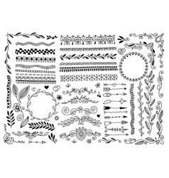 set hand drawing doodle page divider border vector image