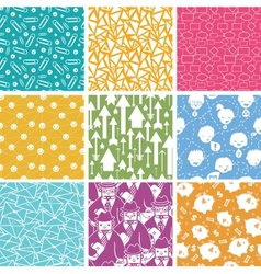 Set of nine business seamless patterns backgrounds vector image