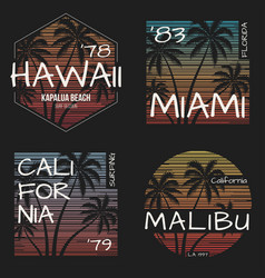 set of us resorts t-shirt designs vector image