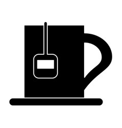 Silhouette cup tea hot break office work vector