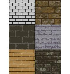 Six abstract brick texture vector