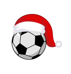 soccer ball in santa claus hat sports new year vector image