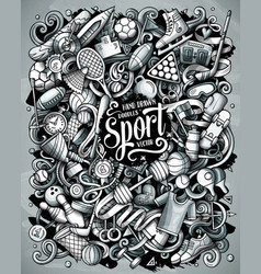 Sports hand drawn doodles vector