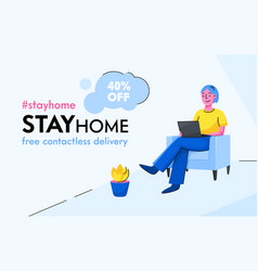Stay home concept smiling character sitting on vector