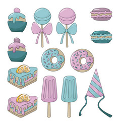 Sweets set colorful cartoon vector