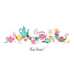 tea time horizontal banner vector image