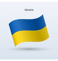 Ukraine flag waving form vector image