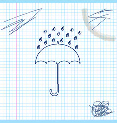 umbrella and rain drops line sketch icon isolated vector image