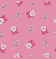 valentines day pink icon seamless pattern cartoon vector image