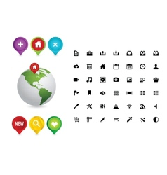 Web colored pins and earth symbols vector image