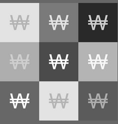 won sign grayscale version of popart vector image