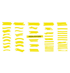 yellow highlighters marker strokes vector image