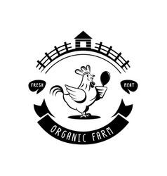 organic farm chicken meat logo vector image