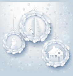 paper art christmas decorations vector image vector image