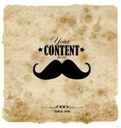 Vintage postcard Mustache label on grunge paper vector image