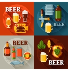 Backgrounds design with beer icons and objects vector image vector image