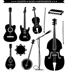 country music instruments isolated on white vector image