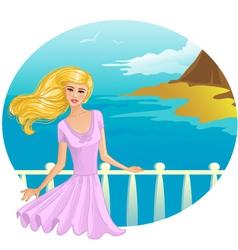 Girl on the bridge vector image vector image