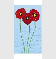 long card poppies vector image