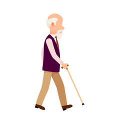 person with cane thin stick curved handle isolated vector image