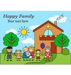 Cartoon big happy family near the house vector image vector image