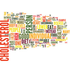 food that lower cholesterol text background word vector image