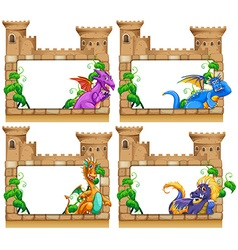 Frame design with dragon and castle vector image vector image