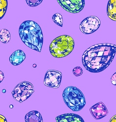 Hand drawn precious stones vector image vector image