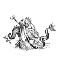 mermaid and Neptune vector image