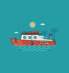red yachting boat on water vector image