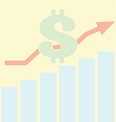 Sales Bar Chart Growth of dollar concept vector image vector image