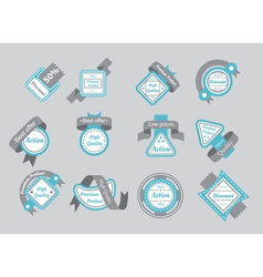 set of cyan seals with gray ribbons vector image vector image