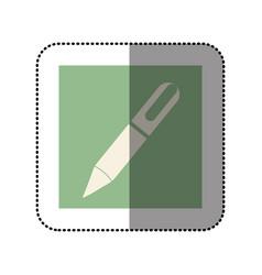 color sticker square with pen icon vector image vector image