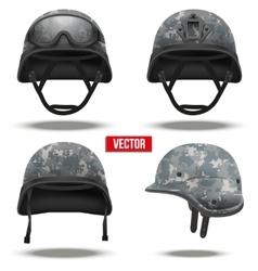 Set of Military tactical helmets pixel color vector image vector image