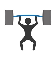 Silhuette man weight lifting barbell vector