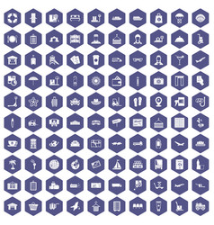 100 luggage icons hexagon purple vector