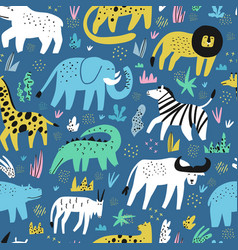 african animals flat hand drawn seamless pattern vector image