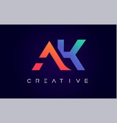 Ak logo letter design with modern creative vector