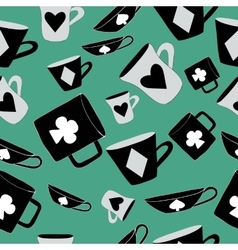 Alice Cups and cards Seamless vector image