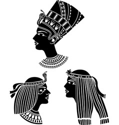 Ancient egypt women profiles vector