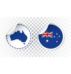 Australia sticker with flag and map label round vector