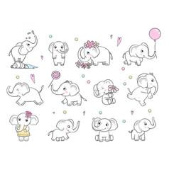 Baby elephant cute little wild animal vector