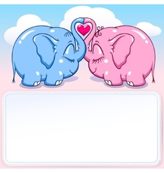 baby elephant in love banner vector image vector image