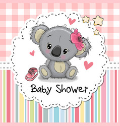 Baby shower greeting card with cartoon koala girl vector
