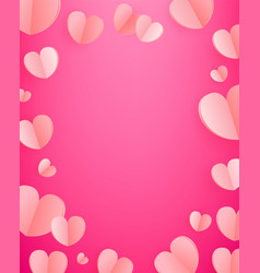 background pink hearts template for greeting vector image