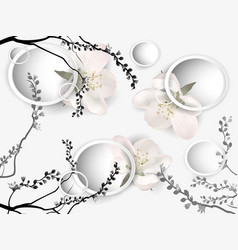 background with apple blossoms vector image