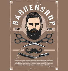 Barber shop service retro poster with bearded man vector