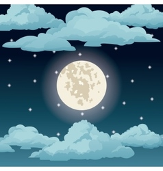 Big moon night sky stars clouds vector